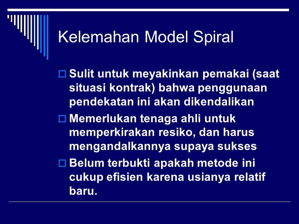 Keuntungan Model Spiral  Pada model spiral, resiko sangat dipertimbangkan.