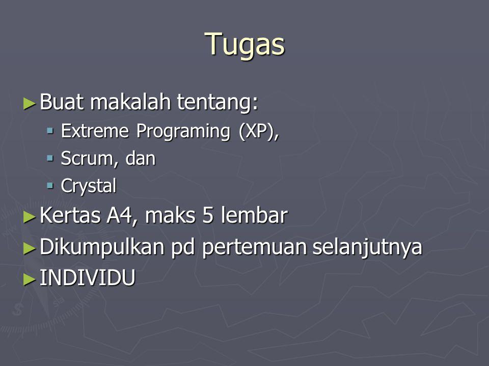 Tugas ► Buat makalah tentang:  Extreme Programing (XP),  Scrum, dan  Crystal ► Kertas A4, maks 5 lembar ► Dikumpulkan pd pertemuan selanjutnya ► IN