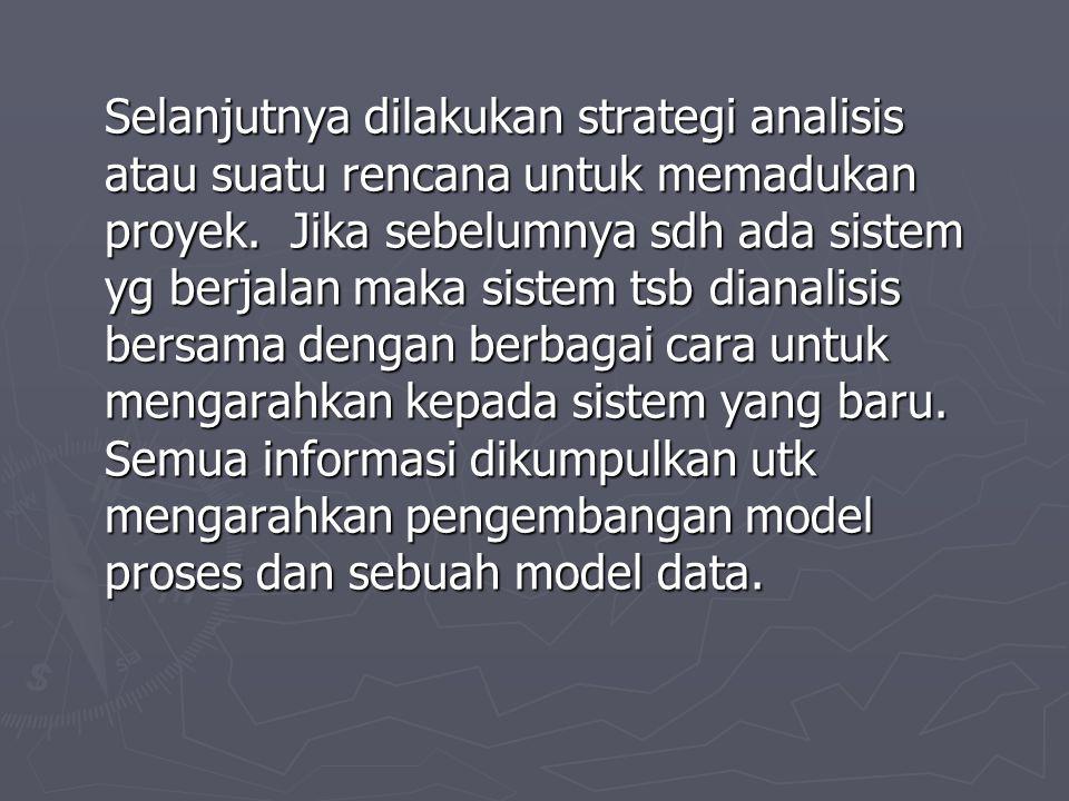 Selanjutnya dilakukan strategi analisis atau suatu rencana untuk memadukan proyek. Jika sebelumnya sdh ada sistem yg berjalan maka sistem tsb dianalis
