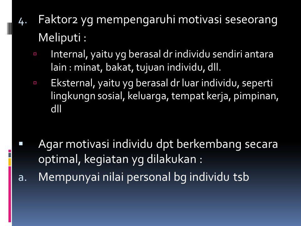4. Faktor2 yg mempengaruhi motivasi seseorang Meliputi :  Internal, yaitu yg berasal dr individu sendiri antara lain : minat, bakat, tujuan individu,