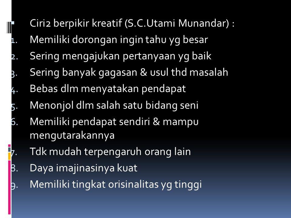  Ciri2 berpikir kreatif (S.C.Utami Munandar) : 1. Memiliki dorongan ingin tahu yg besar 2. Sering mengajukan pertanyaan yg baik 3. Sering banyak gaga