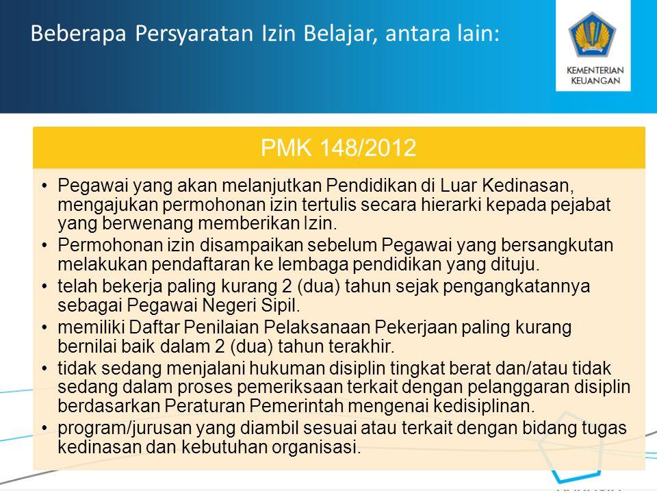 RAHASIA Beberapa Persyaratan Izin Belajar, antara lain: PMK 148/2012 Pegawai yang akan melanjutkan Pendidikan di Luar Kedinasan, mengajukan permohonan