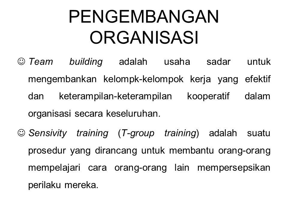 PENGEMBANGAN ORGANISASI Team building adalah usaha sadar untuk mengembankan kelompk-kelompok kerja yang efektif dan keterampilan-keterampilan kooperat