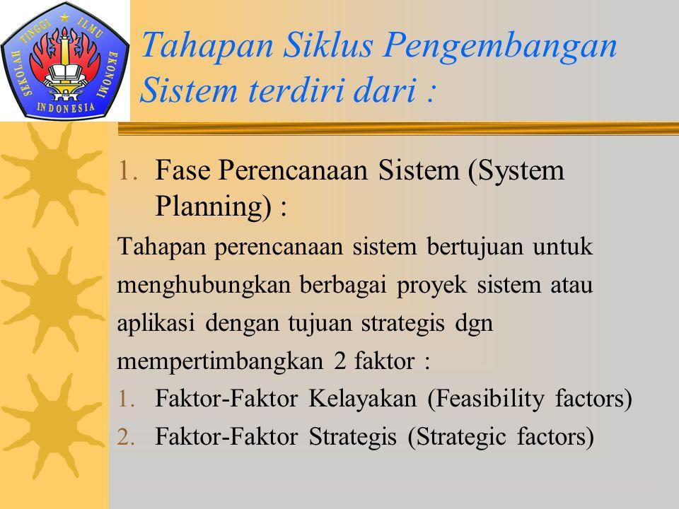1. Fase Perencanaan Sistem (System Planning) : Tahapan perencanaan sistem bertujuan untuk menghubungkan berbagai proyek sistem atau aplikasi dengan tu