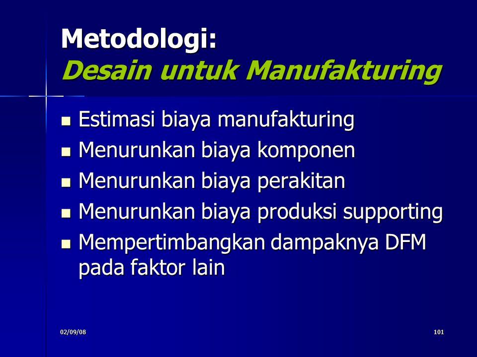 02/09/08101 Metodologi: Desain untuk Manufakturing Estimasi biaya manufakturing Estimasi biaya manufakturing Menurunkan biaya komponen Menurunkan biay