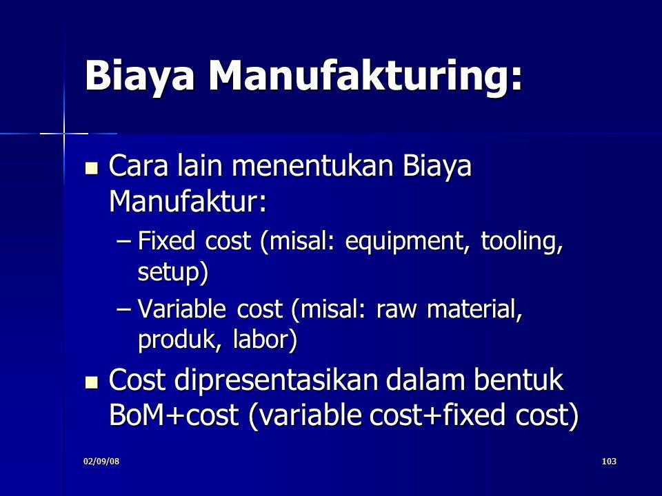 02/09/08103 Biaya Manufakturing: Cara lain menentukan Biaya Manufaktur: Cara lain menentukan Biaya Manufaktur: –Fixed cost (misal: equipment, tooling,