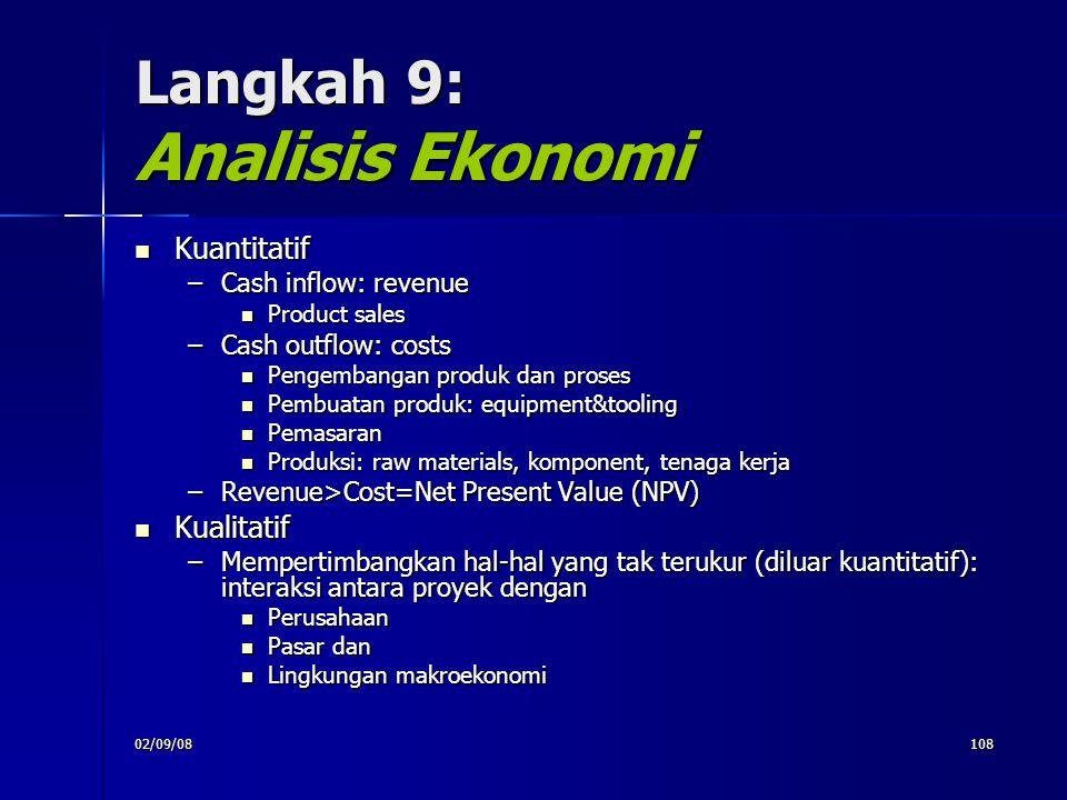 02/09/08108 Langkah 9: Analisis Ekonomi Kuantitatif Kuantitatif –Cash inflow: revenue Product sales Product sales –Cash outflow: costs Pengembangan pr