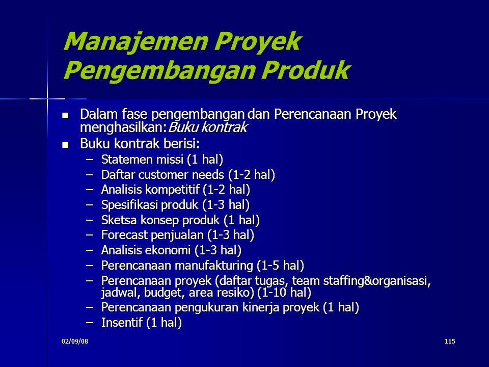 02/09/08115 Manajemen Proyek Pengembangan Produk Dalam fase pengembangan dan Perencanaan Proyek menghasilkan:Buku kontrak Dalam fase pengembangan dan