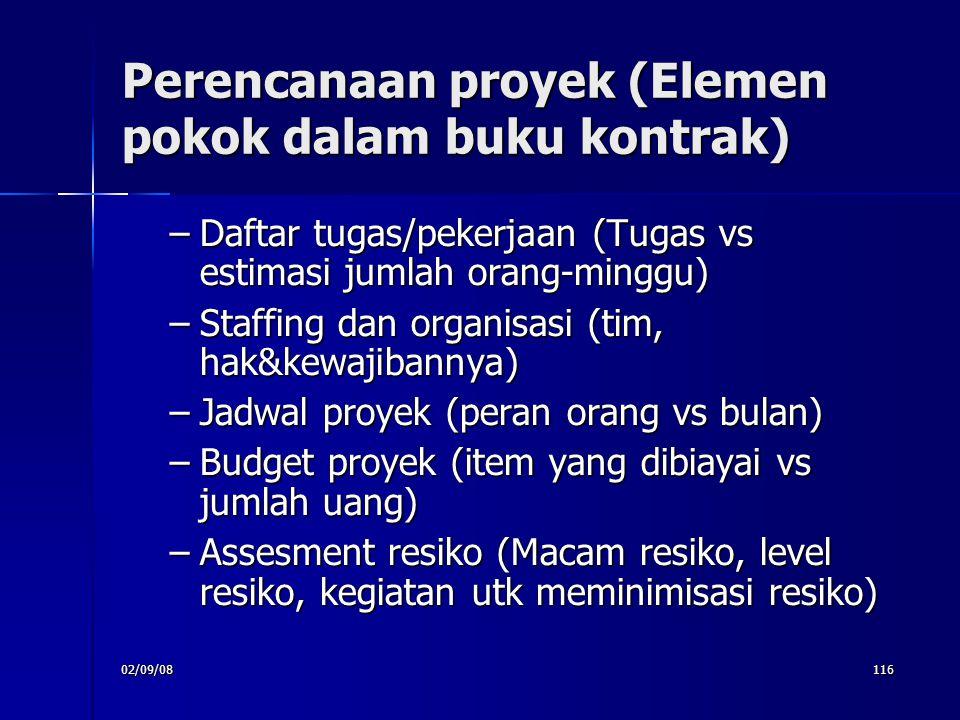 02/09/08116 Perencanaan proyek (Elemen pokok dalam buku kontrak) –Daftar tugas/pekerjaan (Tugas vs estimasi jumlah orang-minggu) –Staffing dan organ