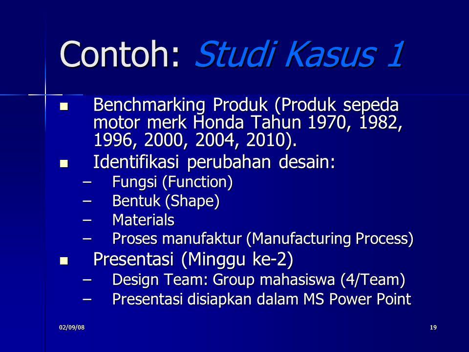 02/09/0819 Contoh: Studi Kasus 1 Benchmarking Produk (Produk sepeda motor merk Honda Tahun 1970, 1982, 1996, 2000, 2004, 2010). Benchmarking Produk (P