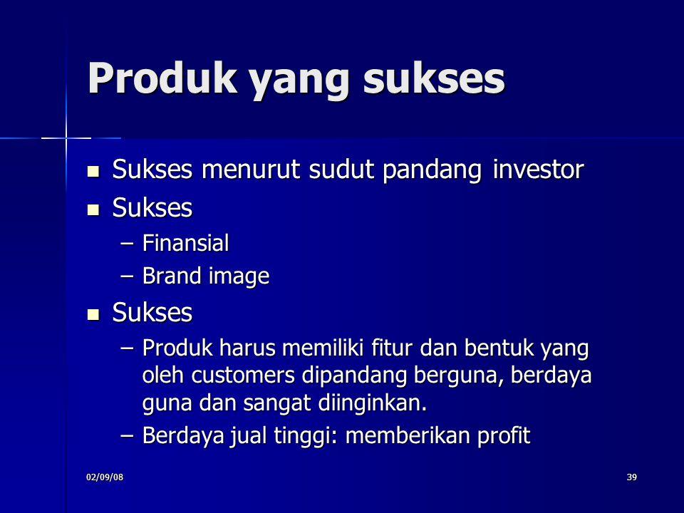 02/09/0839 Produk yang sukses Sukses menurut sudut pandang investor Sukses menurut sudut pandang investor Sukses Sukses –Finansial –Brand image Sukses