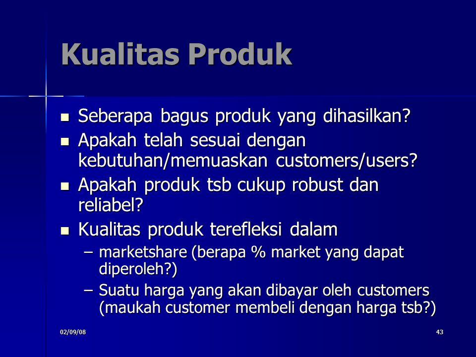 02/09/0843 Kualitas Produk Seberapa bagus produk yang dihasilkan? Seberapa bagus produk yang dihasilkan? Apakah telah sesuai dengan kebutuhan/memuaska