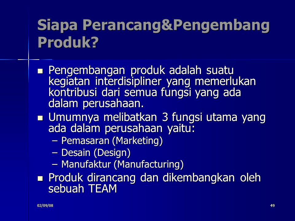 02/09/0849 Siapa Perancang&Pengembang Produk? Pengembangan produk adalah suatu kegiatan interdisipliner yang memerlukan kontribusi dari semua fungsi y