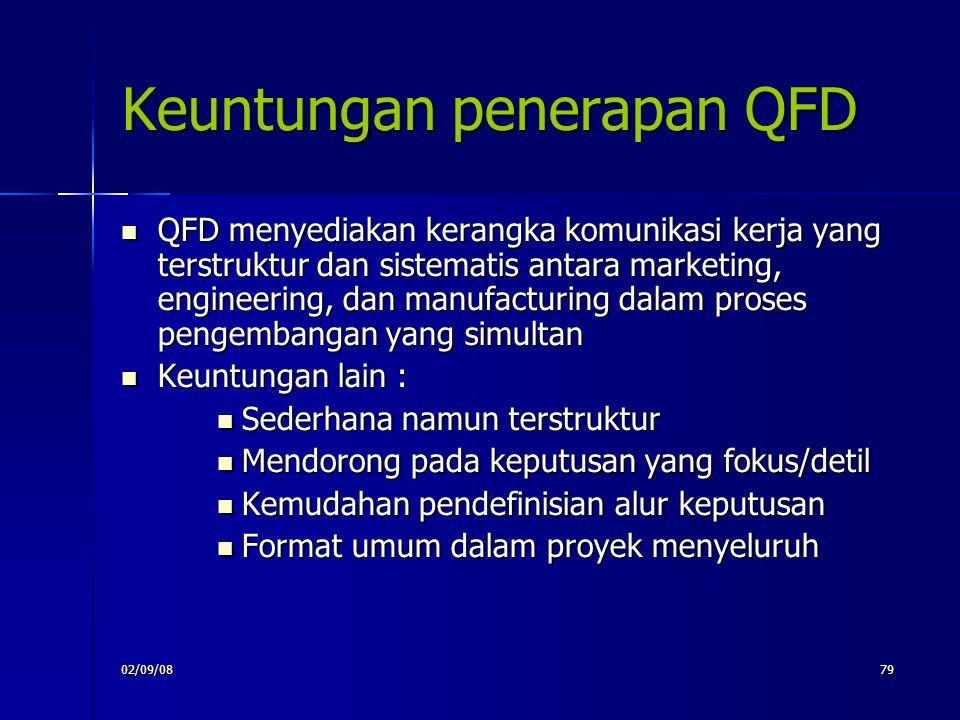 02/09/0879 Keuntungan penerapan QFD QFD menyediakan kerangka komunikasi kerja yang terstruktur dan sistematis antara marketing, engineering, dan manuf