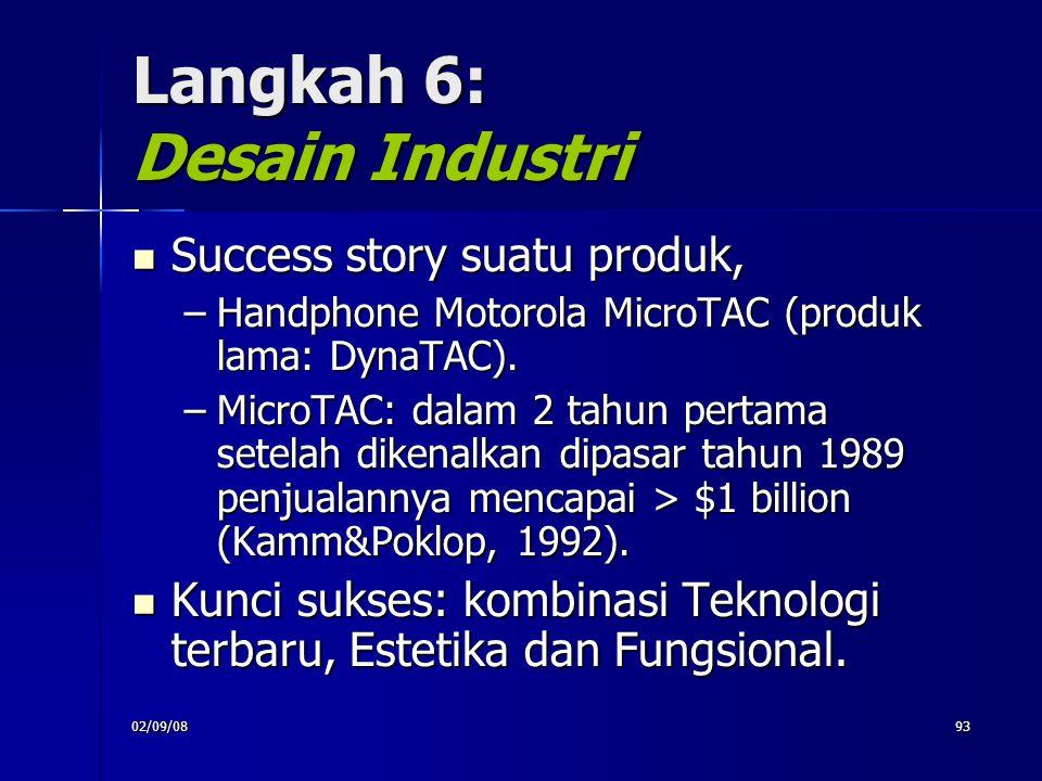 02/09/0893 Langkah 6: Desain Industri Success story suatu produk, Success story suatu produk, –Handphone Motorola MicroTAC (produk lama: DynaTAC). –Mi