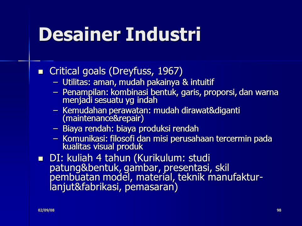 02/09/0898 Desainer Industri Critical goals (Dreyfuss, 1967) Critical goals (Dreyfuss, 1967) –Utilitas: aman, mudah pakainya & intuitif –Penampilan: