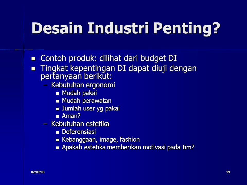 02/09/0899 Desain Industri Penting? Contoh produk: dilihat dari budget DI Contoh produk: dilihat dari budget DI Tingkat kepentingan DI dapat diuji den