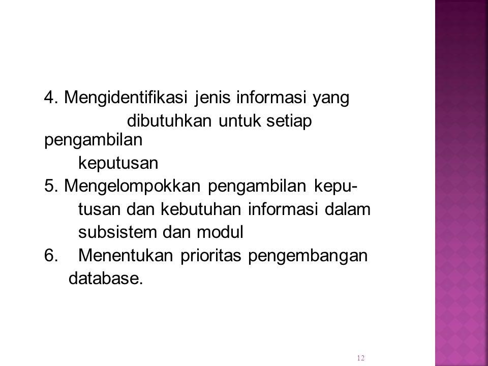 4. Mengidentifikasi jenis informasi yang dibutuhkan untuk setiap pengambilan keputusan 5. Mengelompokkan pengambilan kepu- tusan dan kebutuhan informa