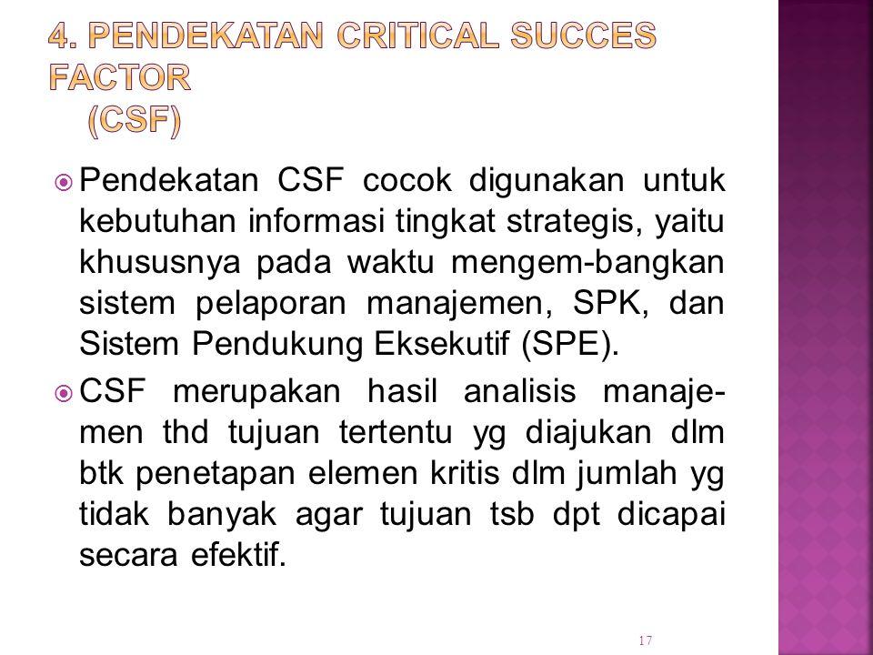  Pendekatan CSF cocok digunakan untuk kebutuhan informasi tingkat strategis, yaitu khususnya pada waktu mengem-bangkan sistem pelaporan manajemen, SP