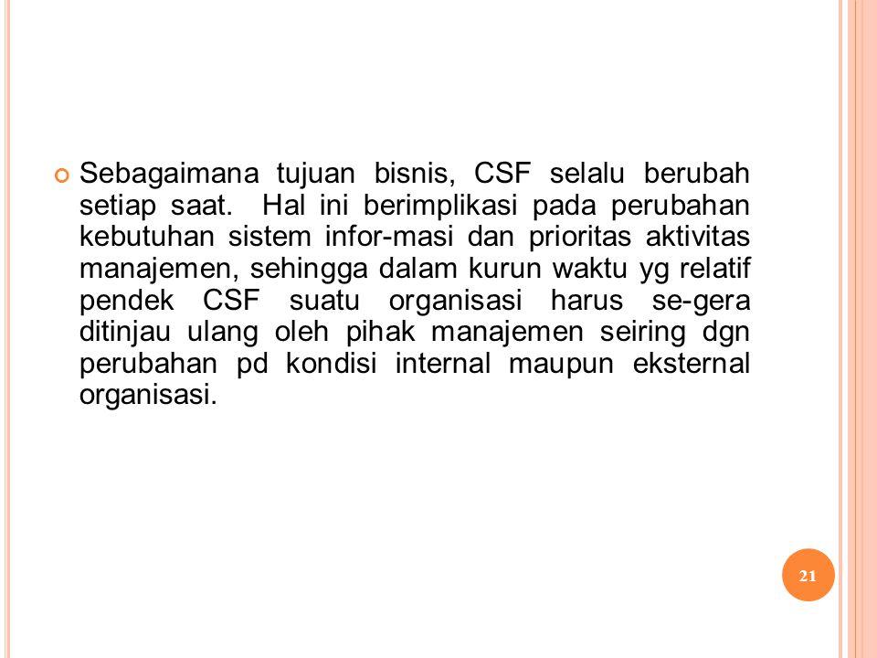 Sebagaimana tujuan bisnis, CSF selalu berubah setiap saat. Hal ini berimplikasi pada perubahan kebutuhan sistem infor-masi dan prioritas aktivitas man