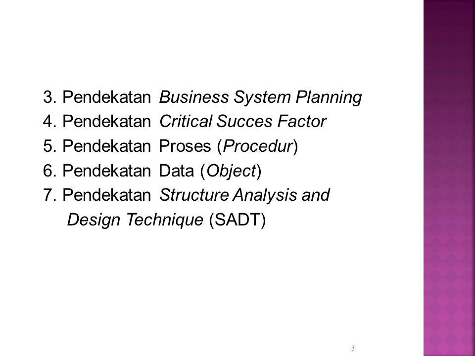 3. Pendekatan Business System Planning 4. Pendekatan Critical Succes Factor 5. Pendekatan Proses (Procedur) 6. Pendekatan Data (Object) 7. Pendekatan