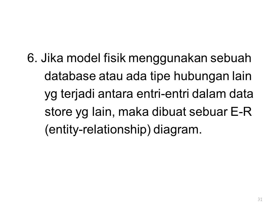6. Jika model fisik menggunakan sebuah database atau ada tipe hubungan lain yg terjadi antara entri-entri dalam data store yg lain, maka dibuat sebuar