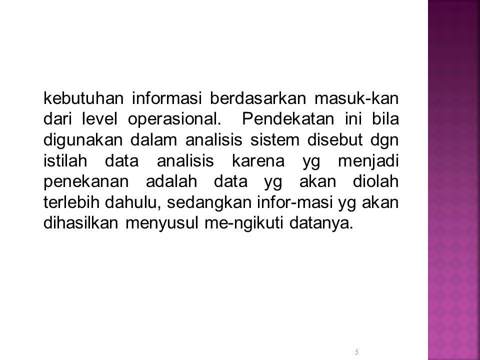 kebutuhan informasi berdasarkan masuk-kan dari level operasional. Pendekatan ini bila digunakan dalam analisis sistem disebut dgn istilah data analisi