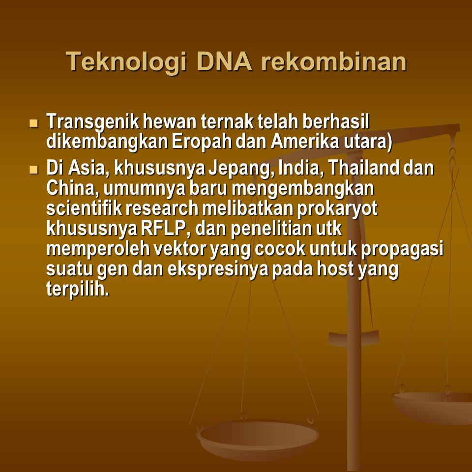 Teknologi DNA rekombinan Transgenik hewan ternak telah berhasil dikembangkan Eropah dan Amerika utara) Transgenik hewan ternak telah berhasil dikemban