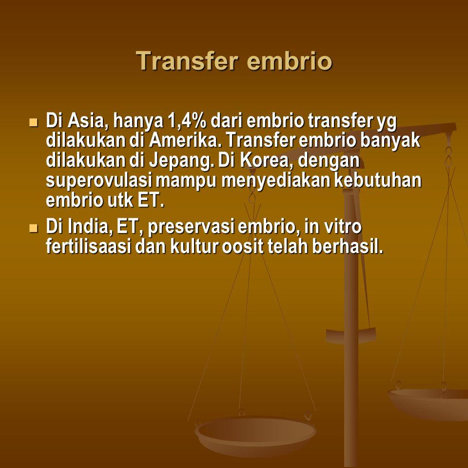 Transfer embrio Di Asia, hanya 1,4% dari embrio transfer yg dilakukan di Amerika. Transfer embrio banyak dilakukan di Jepang. Di Korea, dengan superov