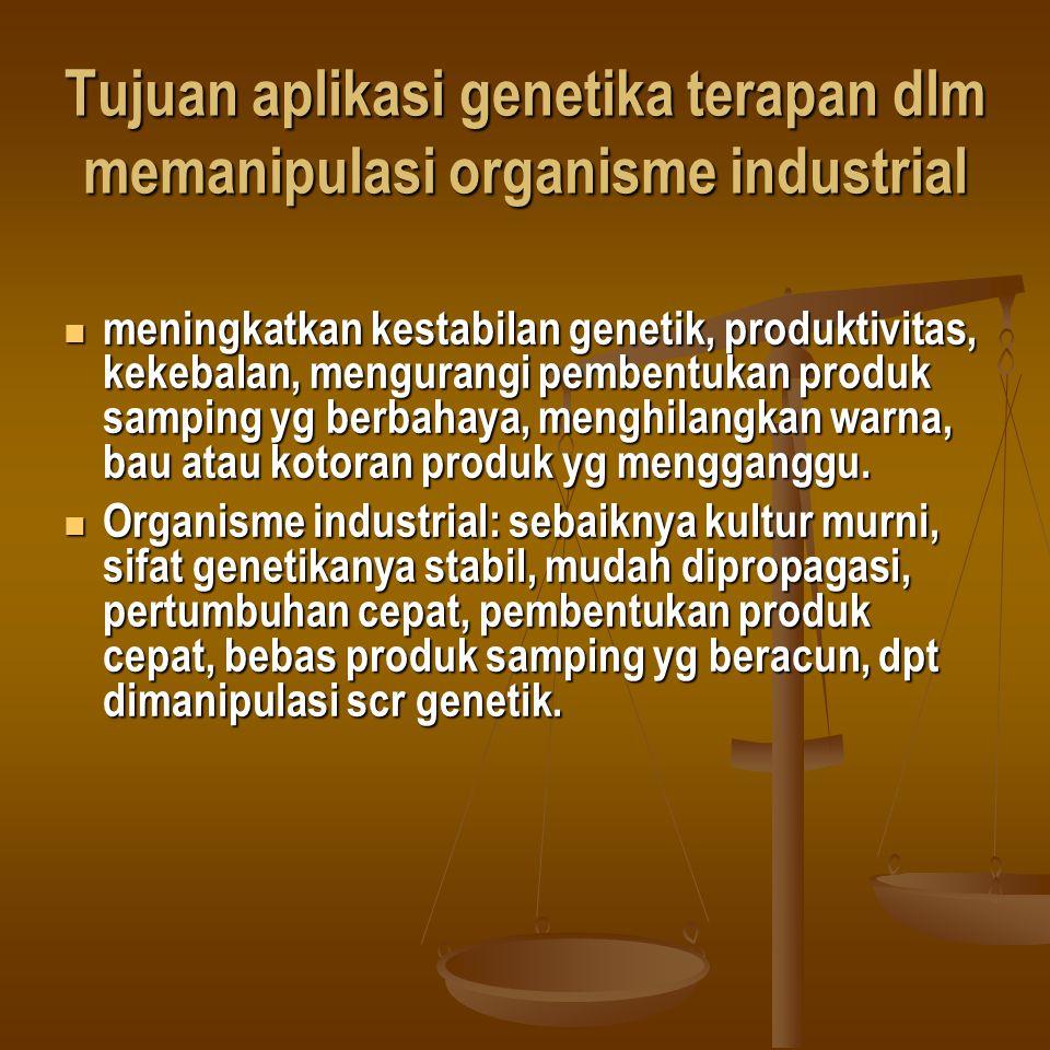 Tujuan aplikasi genetika terapan dlm memanipulasi organisme industrial meningkatkan kestabilan genetik, produktivitas, kekebalan, mengurangi pembentuk
