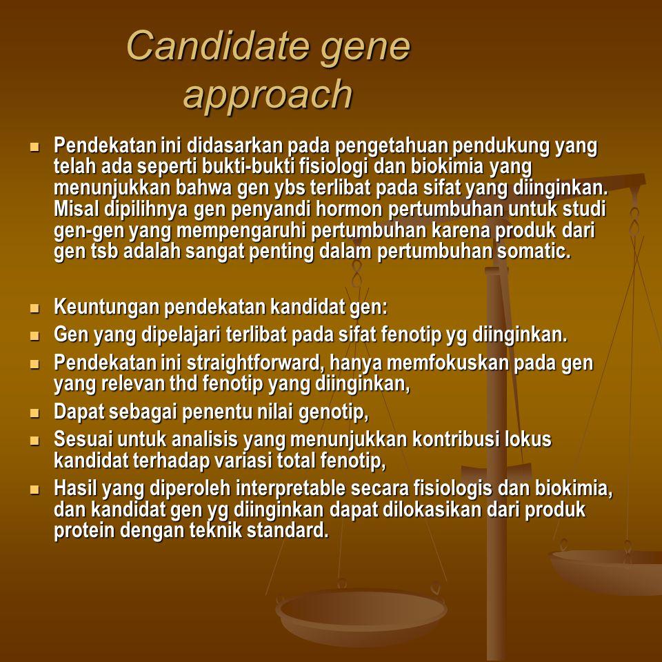 Candidate gene approach Pendekatan ini didasarkan pada pengetahuan pendukung yang telah ada seperti bukti-bukti fisiologi dan biokimia yang menunjukka