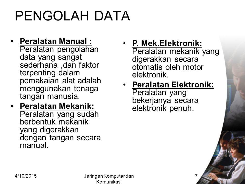4/10/2015Jaringan Komputer dan Komunikasi 6 SEJARAH KOMPUTER Sejak dahulu kala, proses pengolahan data telah dilakukan oleh manusia.