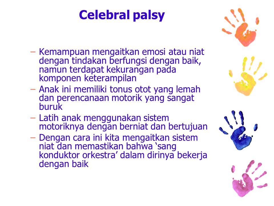 Celebral palsy –Kemampuan mengaitkan emosi atau niat dengan tindakan berfungsi dengan baik, namun terdapat kekurangan pada komponen keterampilan –Anak ini memiliki tonus otot yang lemah dan perencanaan motorik yang sangat buruk –Latih anak menggunakan sistem motoriknya dengan berniat dan bertujuan –Dengan cara ini kita mengaitkan sistem niat dan memastikan bahwa 'sang konduktor orkestra' dalam dirinya bekerja dengan baik