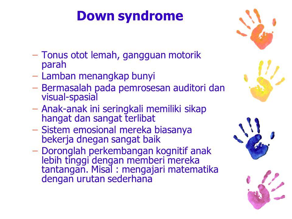 Down syndrome –Tonus otot lemah, gangguan motorik parah –Lamban menangkap bunyi –Bermasalah pada pemrosesan auditori dan visual-spasial –Anak-anak ini seringkali memiliki sikap hangat dan sangat terlibat –Sistem emosional mereka biasanya bekerja dnegan sangat baik –Doronglah perkembangan kognitif anak lebih tinggi dengan memberi mereka tantangan.