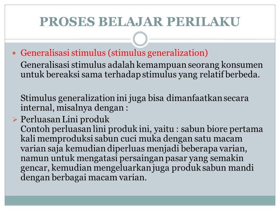PROSES BELAJAR PERILAKU Generalisasi stimulus (stimulus generalization) Generalisasi stimulus adalah kemampuan seorang konsumen untuk bereaksi sama terhadap stimulus yang relatif berbeda.