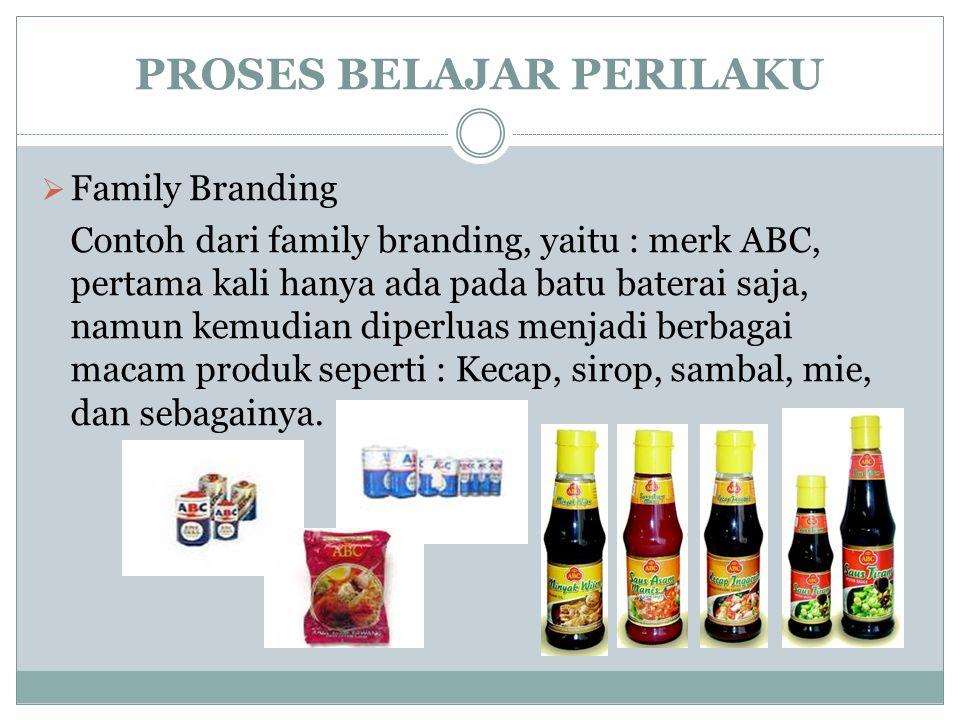 PROSES BELAJAR PERILAKU  Family Branding Contoh dari family branding, yaitu : merk ABC, pertama kali hanya ada pada batu baterai saja, namun kemudian diperluas menjadi berbagai macam produk seperti : Kecap, sirop, sambal, mie, dan sebagainya.