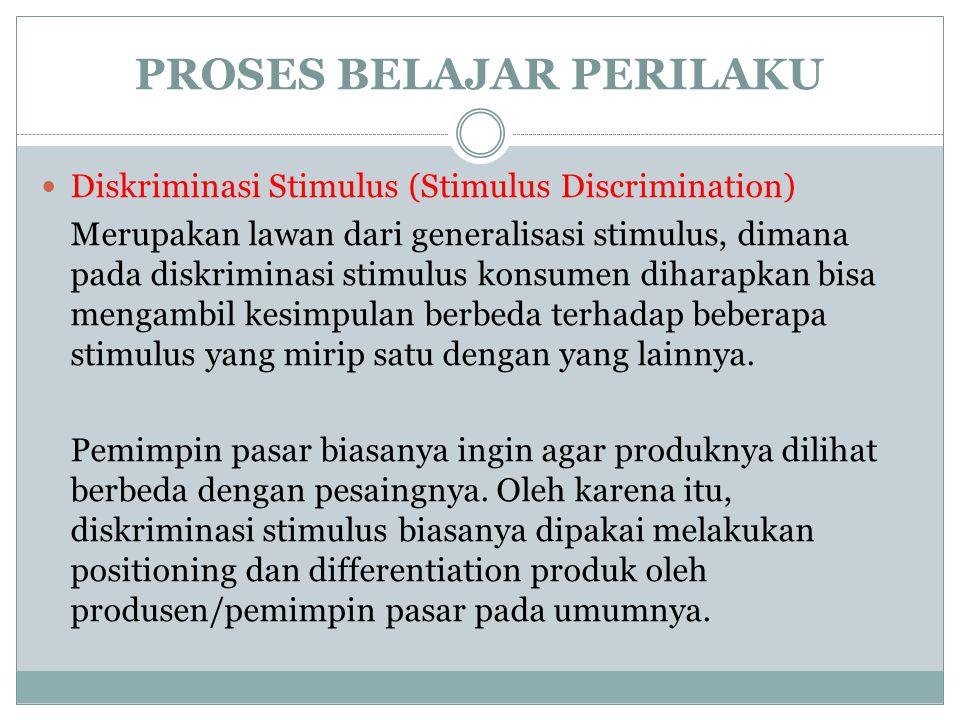 Diskriminasi Stimulus (Stimulus Discrimination) Merupakan lawan dari generalisasi stimulus, dimana pada diskriminasi stimulus konsumen diharapkan bisa mengambil kesimpulan berbeda terhadap beberapa stimulus yang mirip satu dengan yang lainnya.
