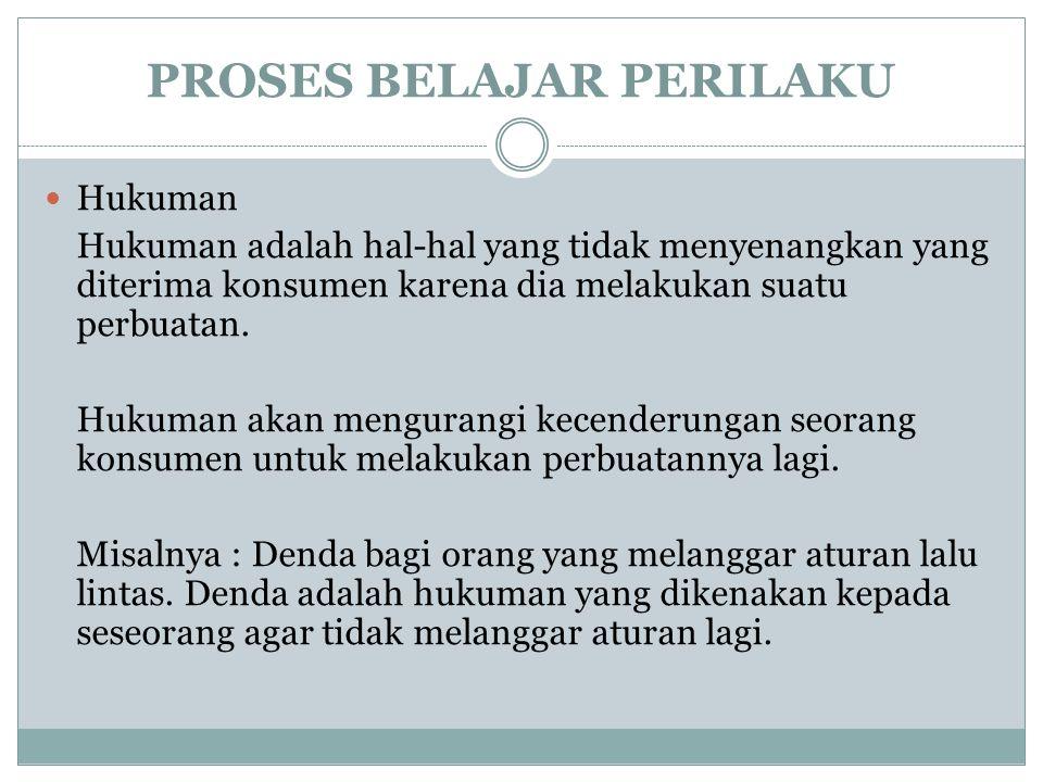 PROSES BELAJAR PERILAKU Hukuman Hukuman adalah hal-hal yang tidak menyenangkan yang diterima konsumen karena dia melakukan suatu perbuatan. Hukuman ak