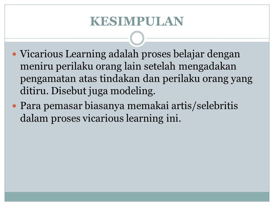 KESIMPULAN Vicarious Learning adalah proses belajar dengan meniru perilaku orang lain setelah mengadakan pengamatan atas tindakan dan perilaku orang yang ditiru.