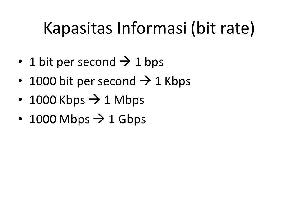 Kapasitas Informasi (bit rate) 1 bit per second  1 bps 1000 bit per second  1 Kbps 1000 Kbps  1 Mbps 1000 Mbps  1 Gbps