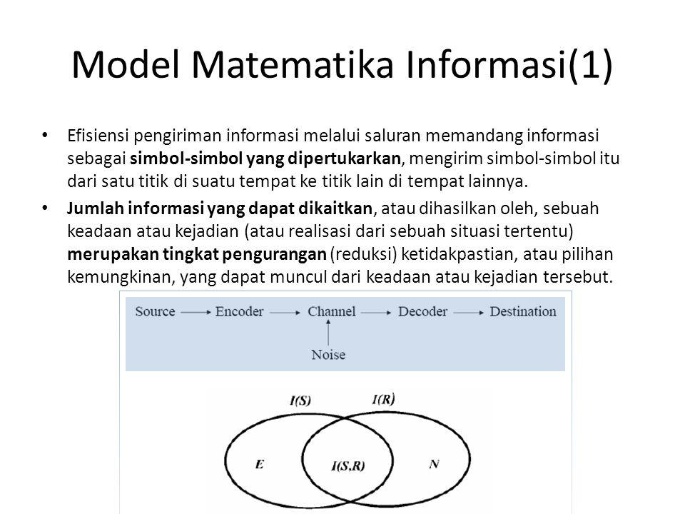 Model Matematika Informasi(1) Efisiensi pengiriman informasi melalui saluran memandang informasi sebagai simbol-simbol yang dipertukarkan, mengirim si