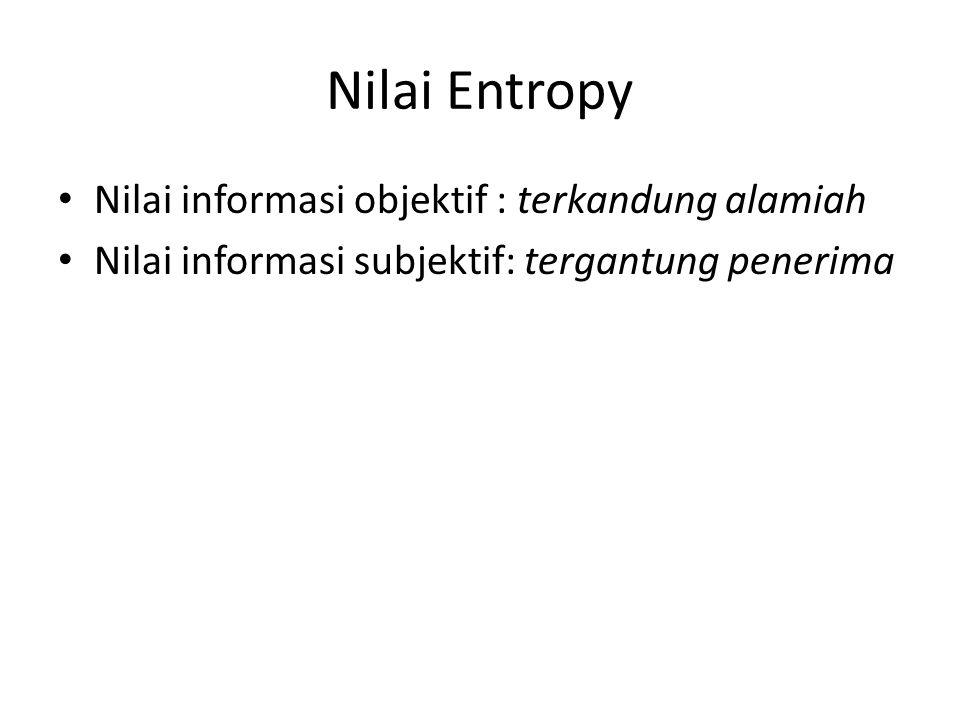Nilai Entropy Nilai informasi objektif : terkandung alamiah Nilai informasi subjektif: tergantung penerima
