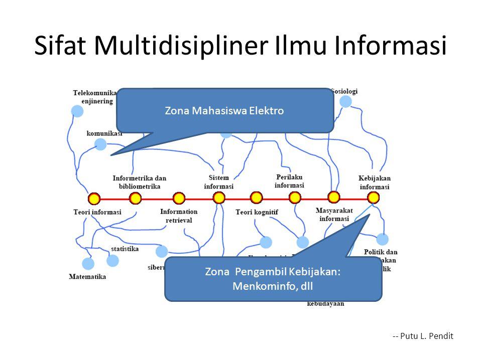 Sifat Multidisipliner Ilmu Informasi -- Putu L. Pendit Zona Mahasiswa Elektro Zona Pengambil Kebijakan: Menkominfo, dll