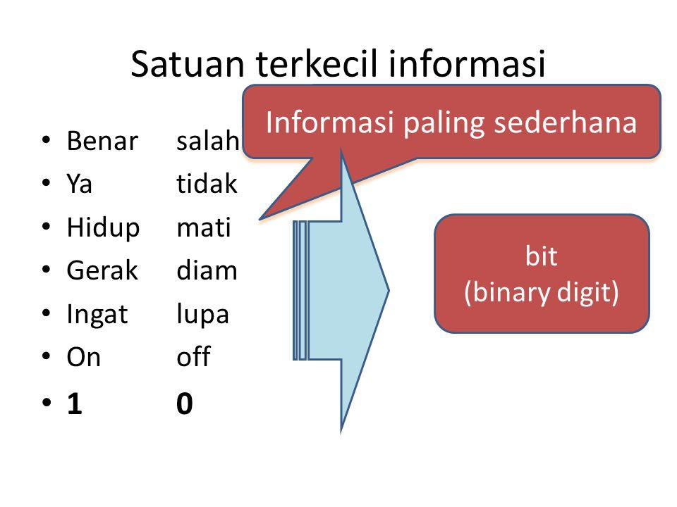 Satuan terkecil informasi Benarsalah Ya tidak Hidupmati Gerakdiam Ingat lupa Onoff 10 bit (binary digit) Informasi paling sederhana