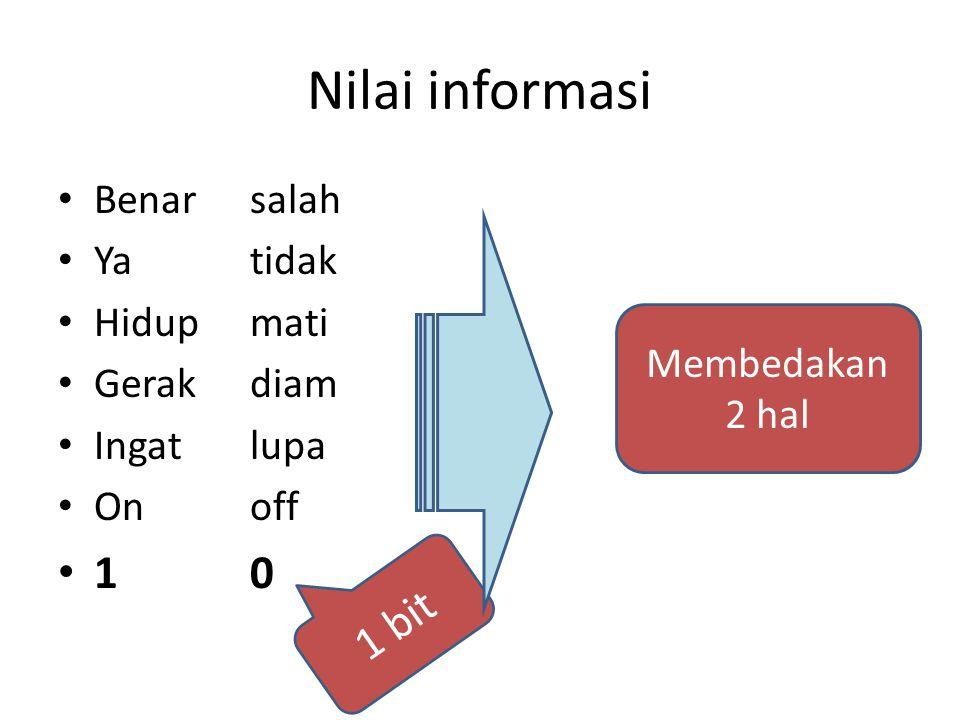 Nilai informasi Benarsalah Ya tidak Hidupmati Gerakdiam Ingatlupa Onoff 10 Membedakan 2 hal 1 bit