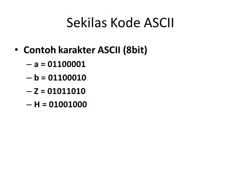 Sekilas Kode ASCII Contoh karakter ASCII (8bit) – a = 01100001 – b = 01100010 – Z = 01011010 – H = 01001000