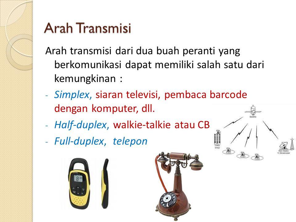 Arah Transmisi Arah transmisi dari dua buah peranti yang berkomunikasi dapat memiliki salah satu dari kemungkinan : - Simplex, siaran televisi, pembac