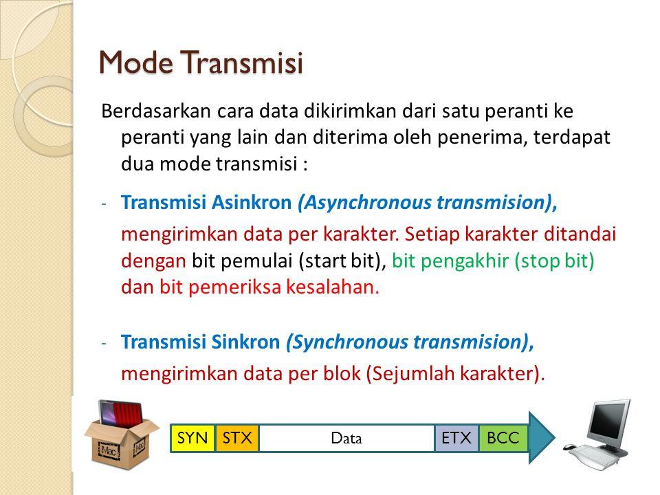 Mode Transmisi Berdasarkan cara data dikirimkan dari satu peranti ke peranti yang lain dan diterima oleh penerima, terdapat dua mode transmisi : - Tra