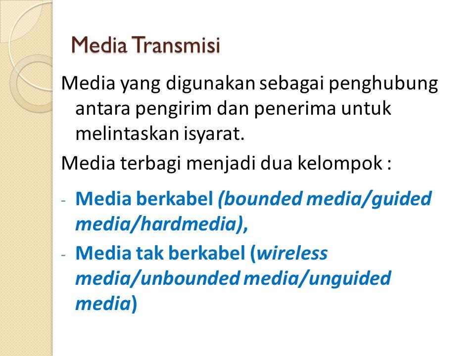 Media Transmisi Media yang digunakan sebagai penghubung antara pengirim dan penerima untuk melintaskan isyarat. Media terbagi menjadi dua kelompok : -