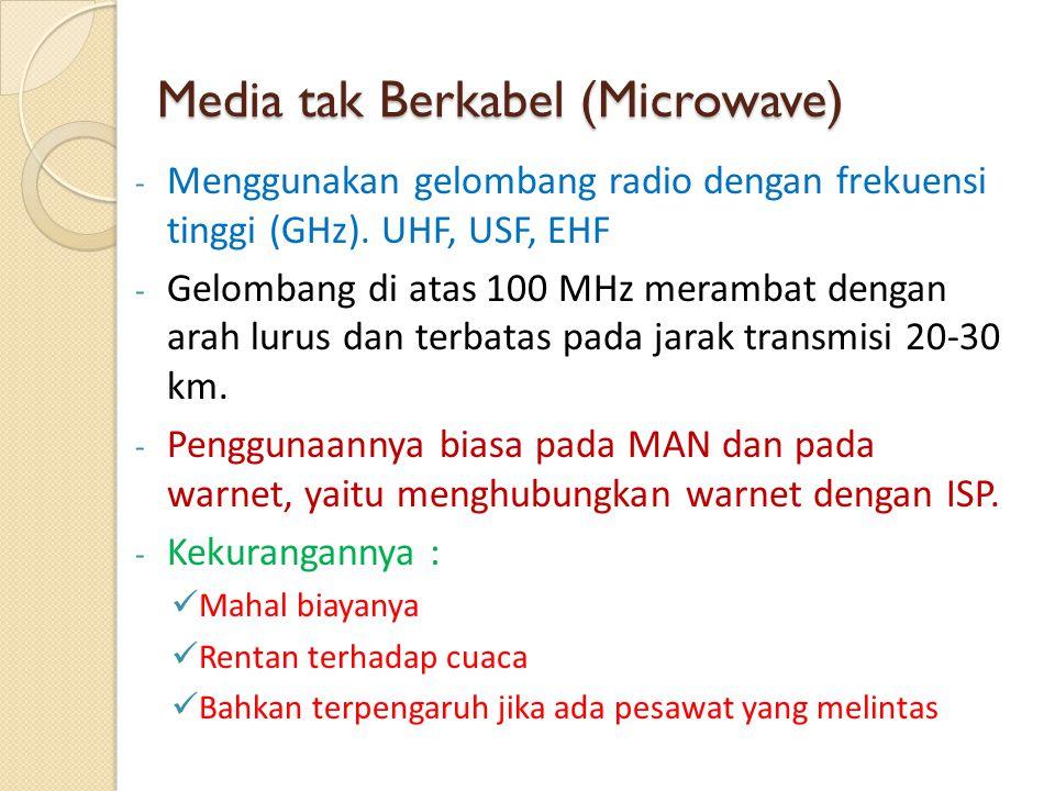 Media tak Berkabel (Microwave) - Menggunakan gelombang radio dengan frekuensi tinggi (GHz). UHF, USF, EHF - Gelombang di atas 100 MHz merambat dengan